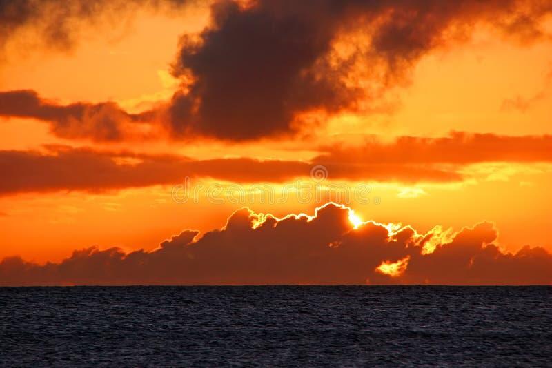 Orange Ocean Sunset Royalty Free Stock Photography