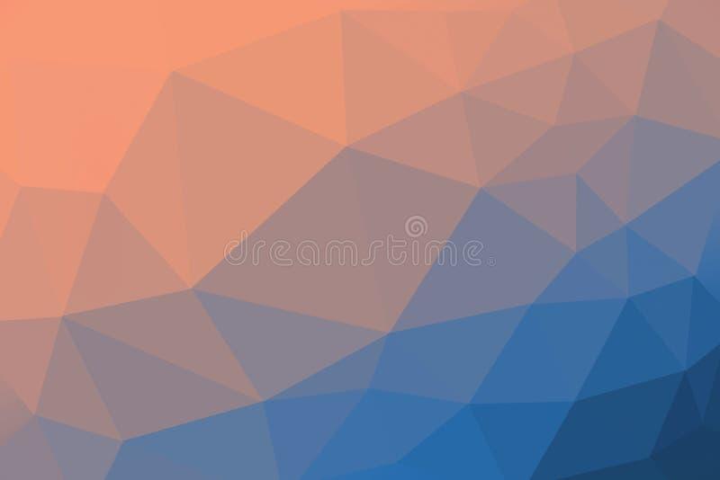 Orange och blå färgad lutningtriangelbakgrund, abstrakt polygonmodell arkivbilder