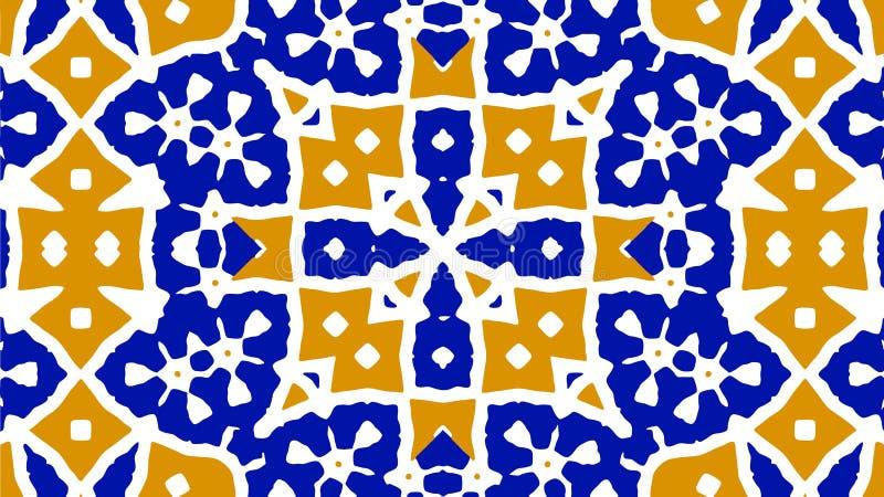 Orange och blå tracery dekorativ bakgrund royaltyfri illustrationer