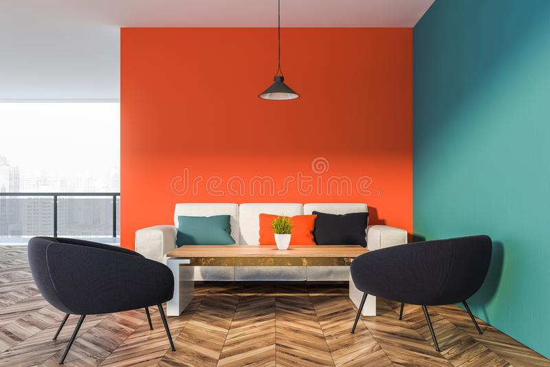 Orange och blå vardagsruminre royaltyfri illustrationer