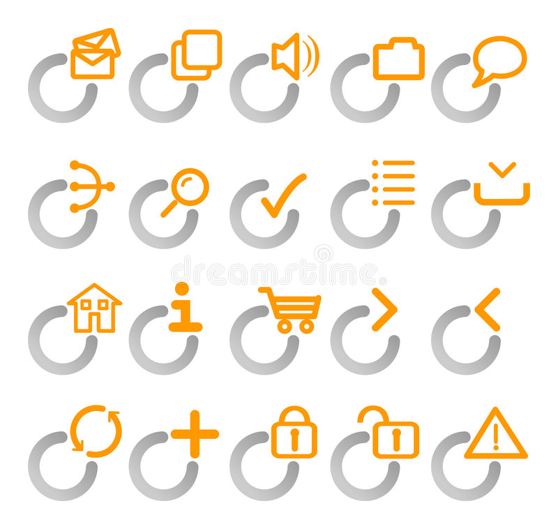 Orange och gråa rengöringsduksymboler royaltyfri illustrationer