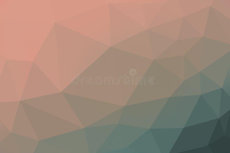 Orange och grön färgad lutningtriangelbakgrund, abstrakt polygonmodell royaltyfri foto