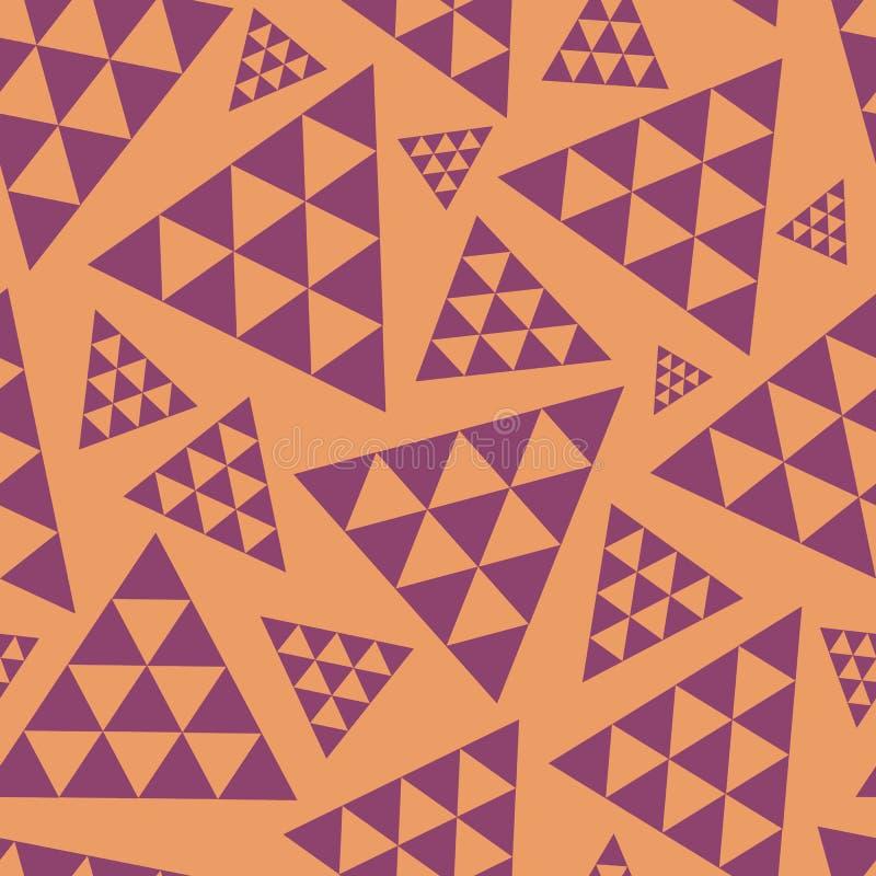 Orange och purpurfärgad slumpmässig modell för triangelrepetitionvektor Modern livlig bohovibe Utmärkt för yoga, skönhetsprodukte stock illustrationer