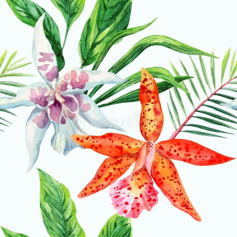 Orange och vit modell för orkidépalmbladvattenfärg vektor illustrationer