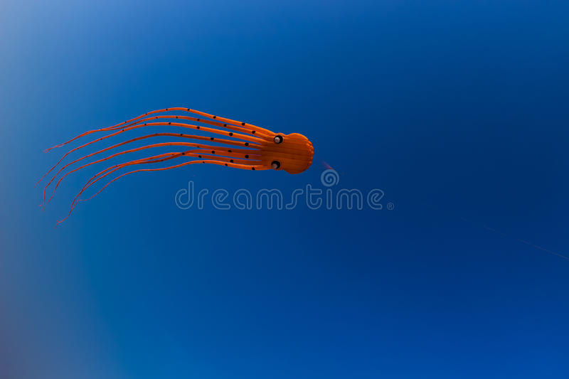 Orange Octupus Kite royalty free stock images