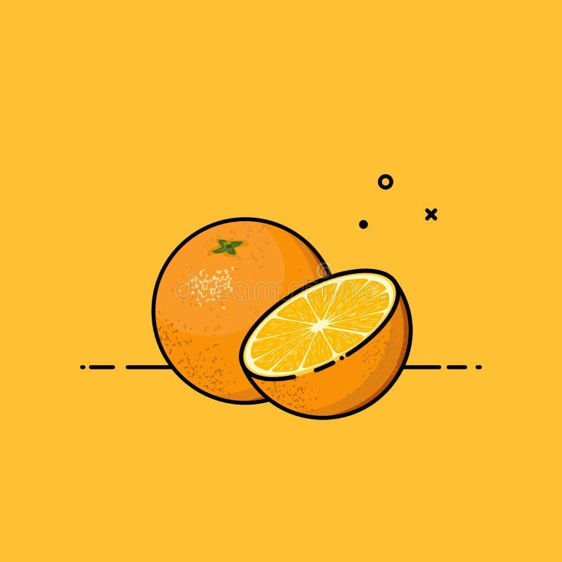 Orange offen um eine Hälfte lizenzfreie abbildung