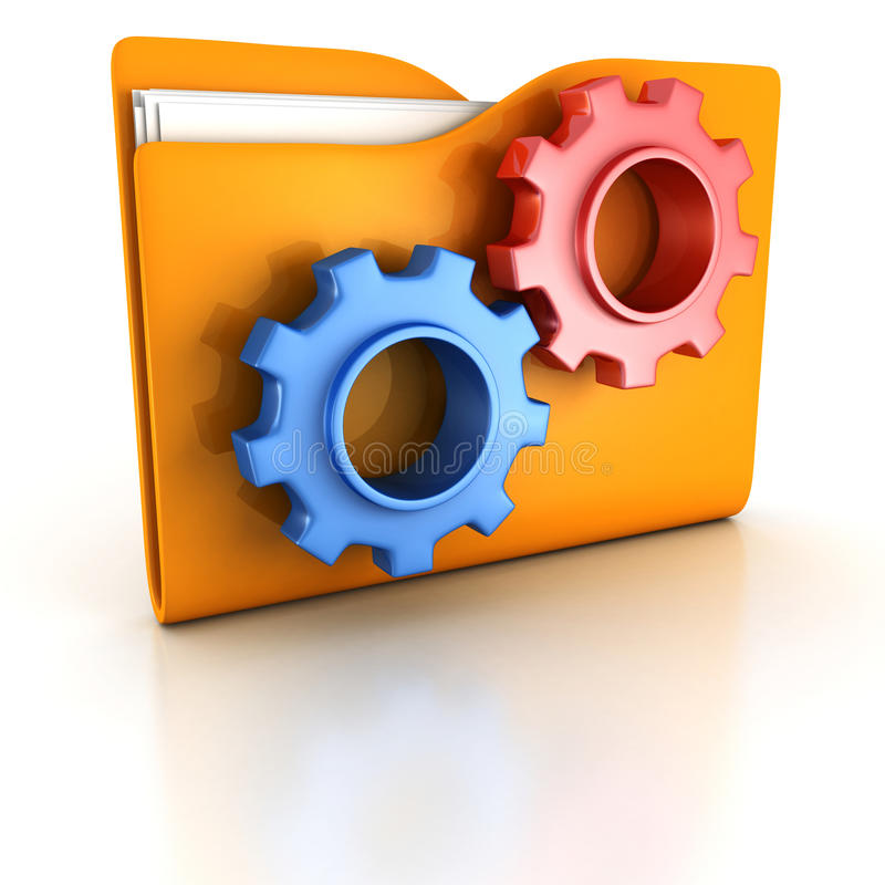 Orange office folder with blue and red gears stock photos