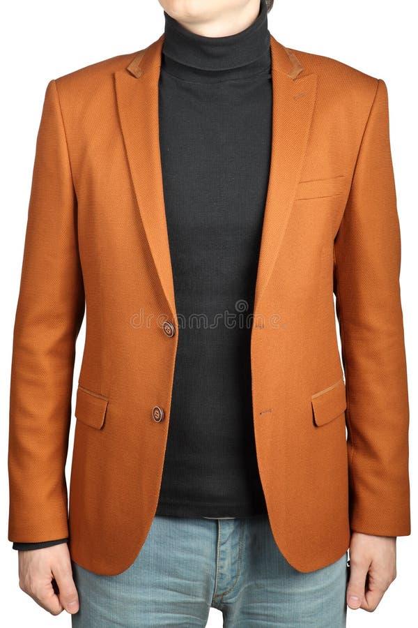 Orange omslagsdräkt för män royaltyfri foto
