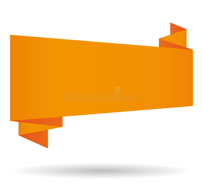 Orange origami banner. vector illustration