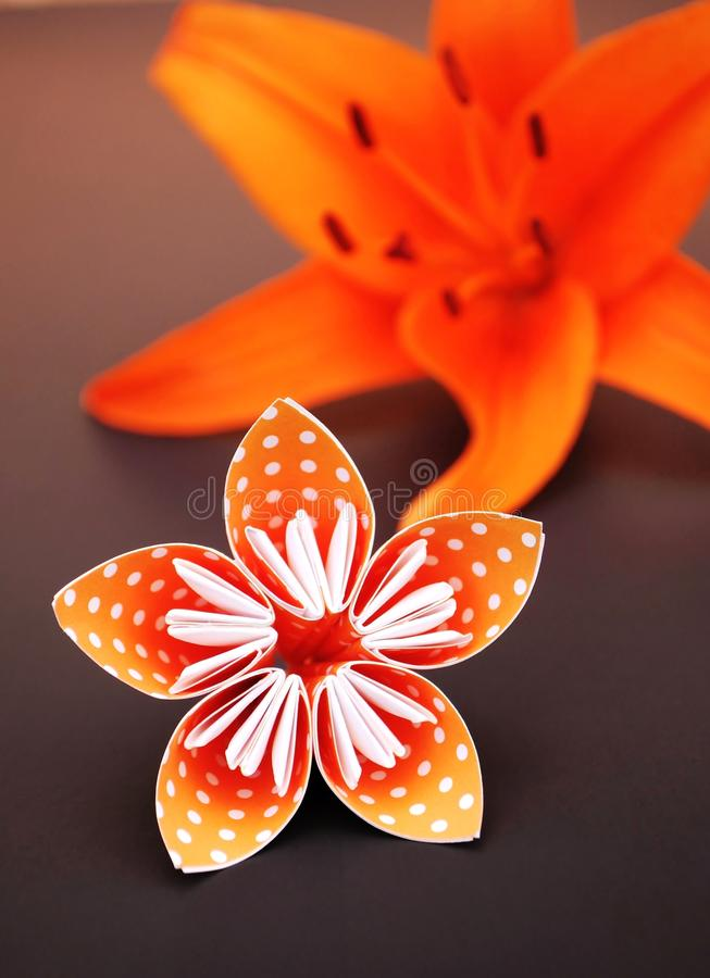 Orange origami flower made of polka dotted paper and lily. stock photos