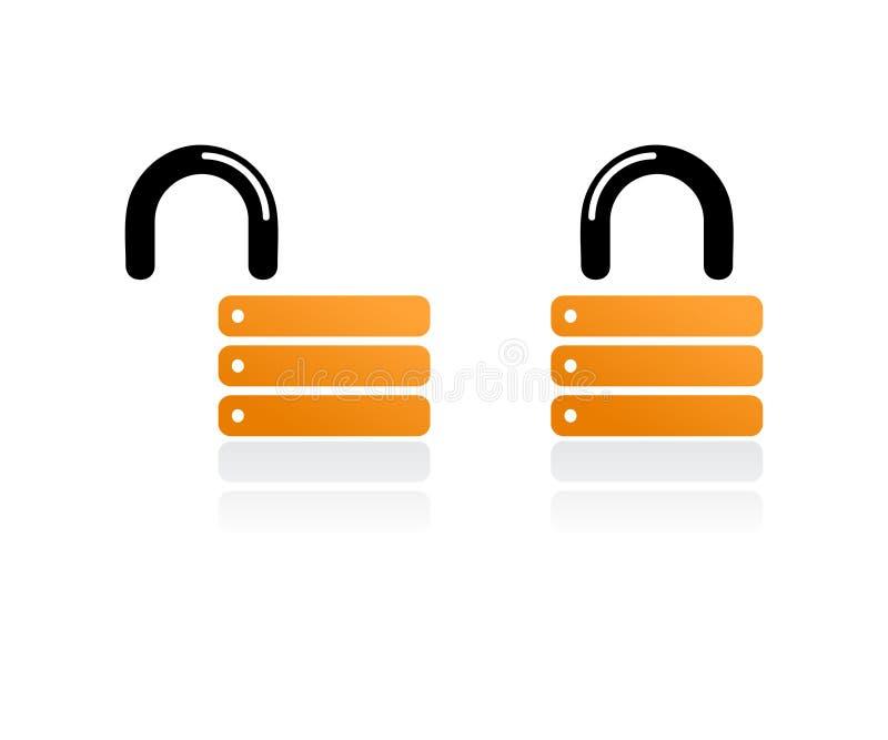 orange padlocks royaltyfri illustrationer
