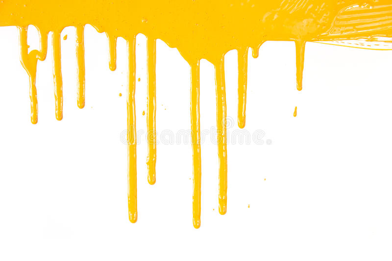 Orange paint dripping / isolated on white. Background with copy space / real photo royalty free stock images
