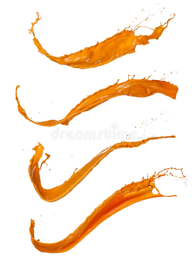 Orange paint splashes on white background royalty free stock images