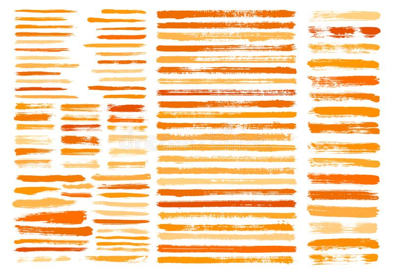 Orange paint stain brush stroke dabs set. Grunge vector sumi painting design elements isolated on white background. Horizontal brushstroke lines chinese or vector illustration