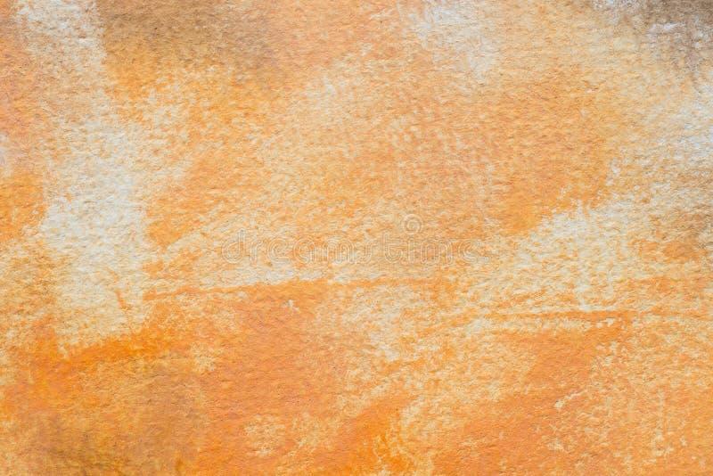 Orange painted aristic watercolor texture background. Orange painted on paper aristic watercolor texture background royalty free stock images