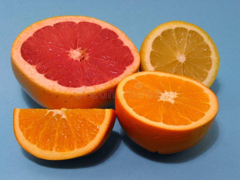 Orange, pamplemousse, citron image stock