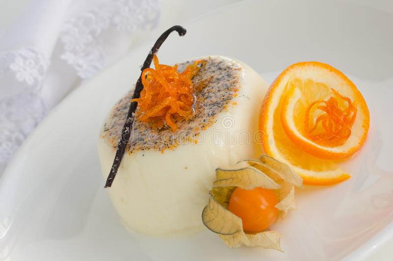 Orange panna Cotta. stockfoto