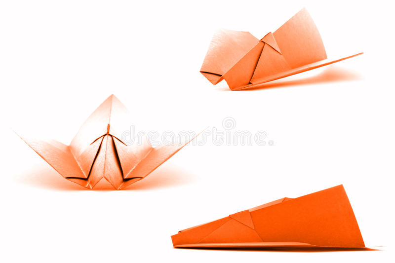 Orange paper aviation set, origami collection isolated on white background stock photography