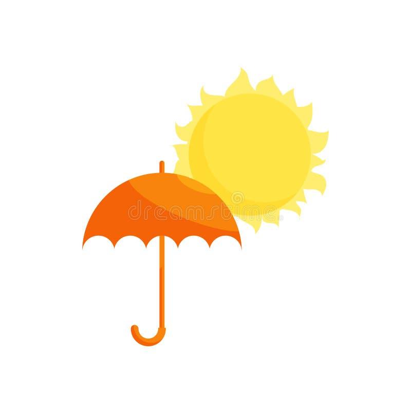 Orange paraply- och solsymbol, tecknad filmstil royaltyfri illustrationer