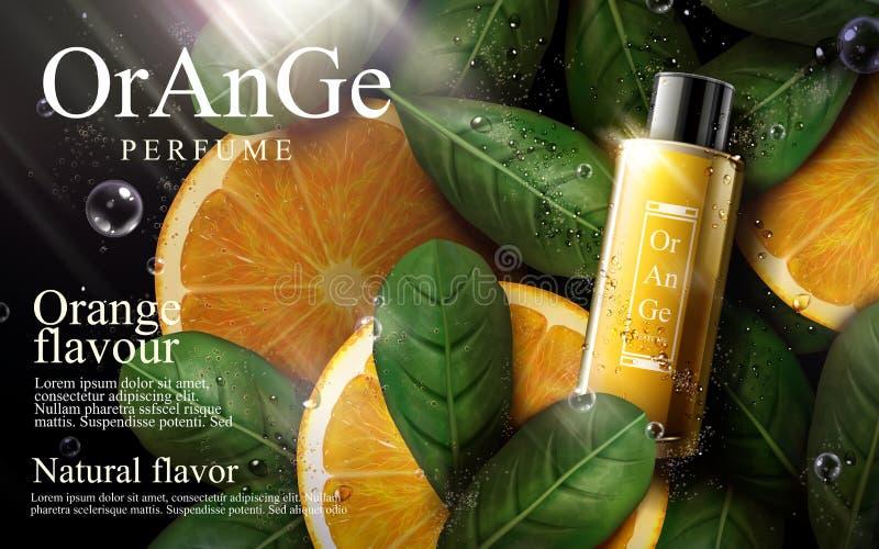 Orange Parfümanzeige lizenzfreie abbildung