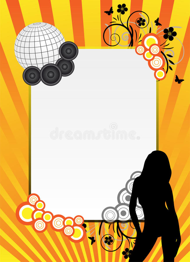 Orange party background. Design with ornaments vector illustration