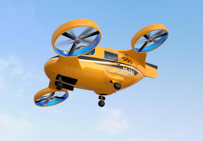 Orange Passagier-Brummen-Taxifliegen im Himmel lizenzfreie abbildung