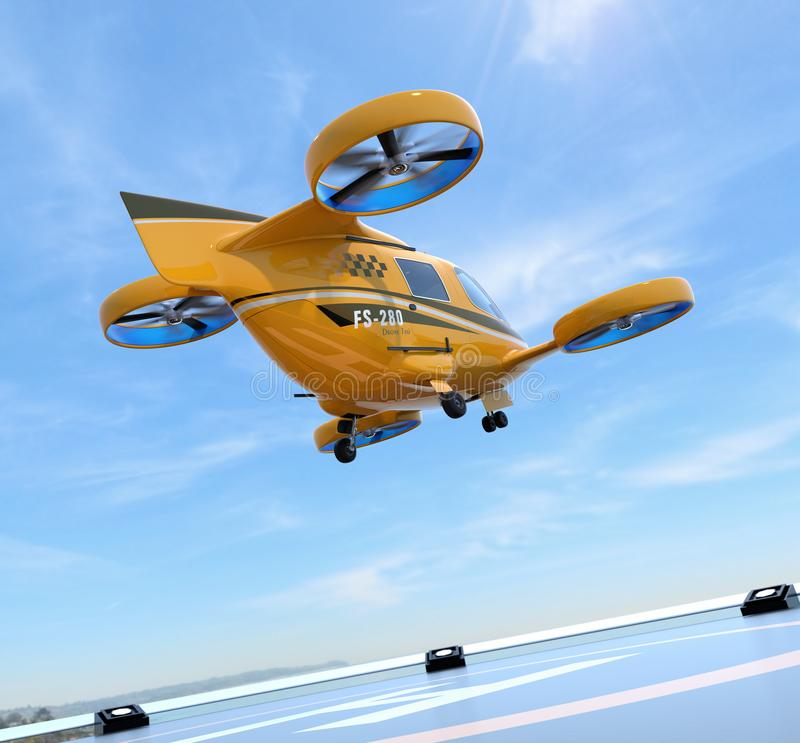 Orange Passenger Drone Taxi takeoff from helipad. 3D rendering image stock illustration