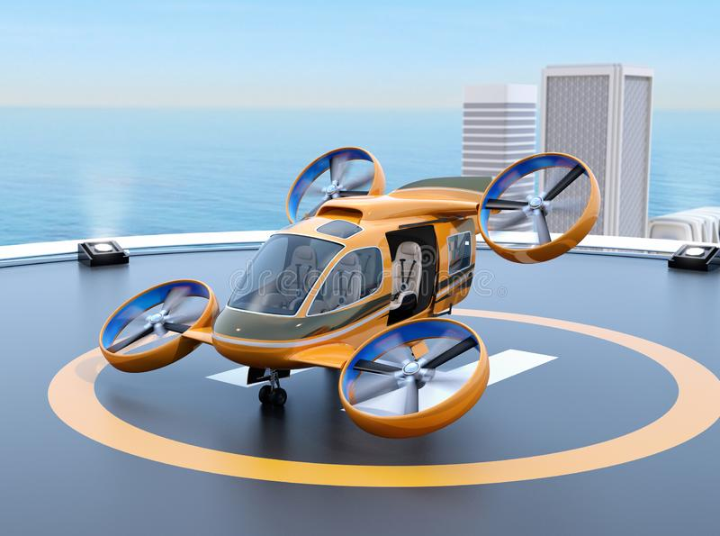 Orange Passenger Drone Taxi takeoff from helipad on the roof of a skyscraper. 3D rendering image vector illustration