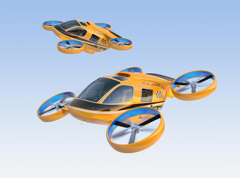 Orange Passenger Drone Taxis flying in the sky. 3D rendering image vector illustration