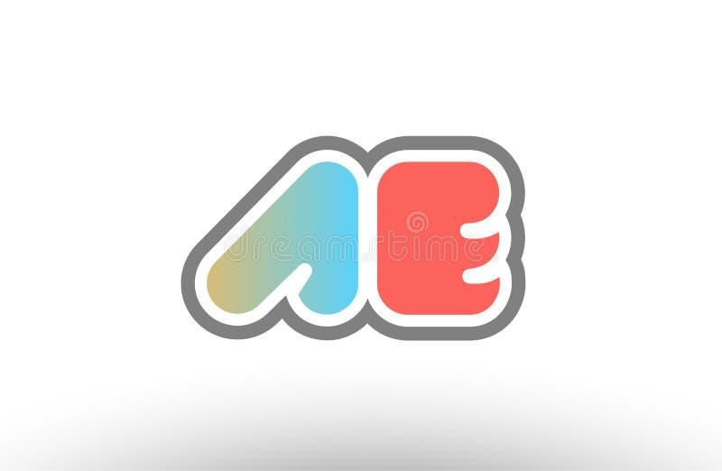 Orange pastel blue alphabet letter ae a e logo combination icon. Orange pastel blue alphabet letter ae a e logo combination design suitable for a company or royalty free illustration