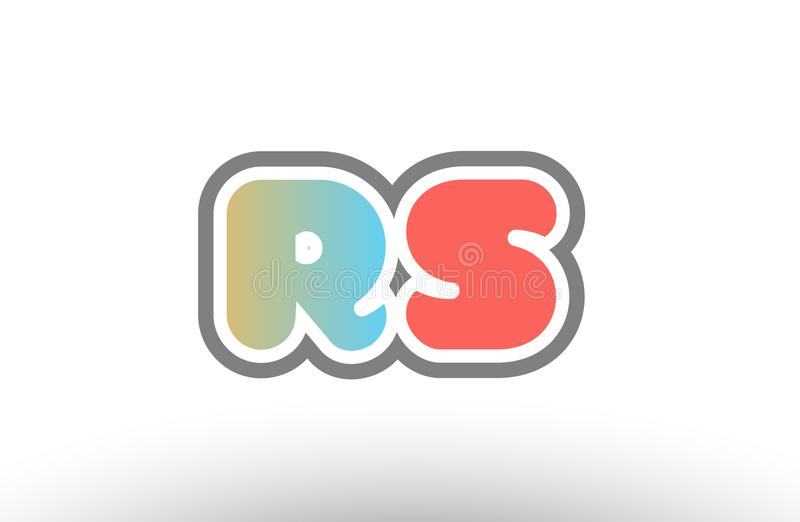 orange pastel blue alphabet letter rs r s logo combination icon royalty free illustration