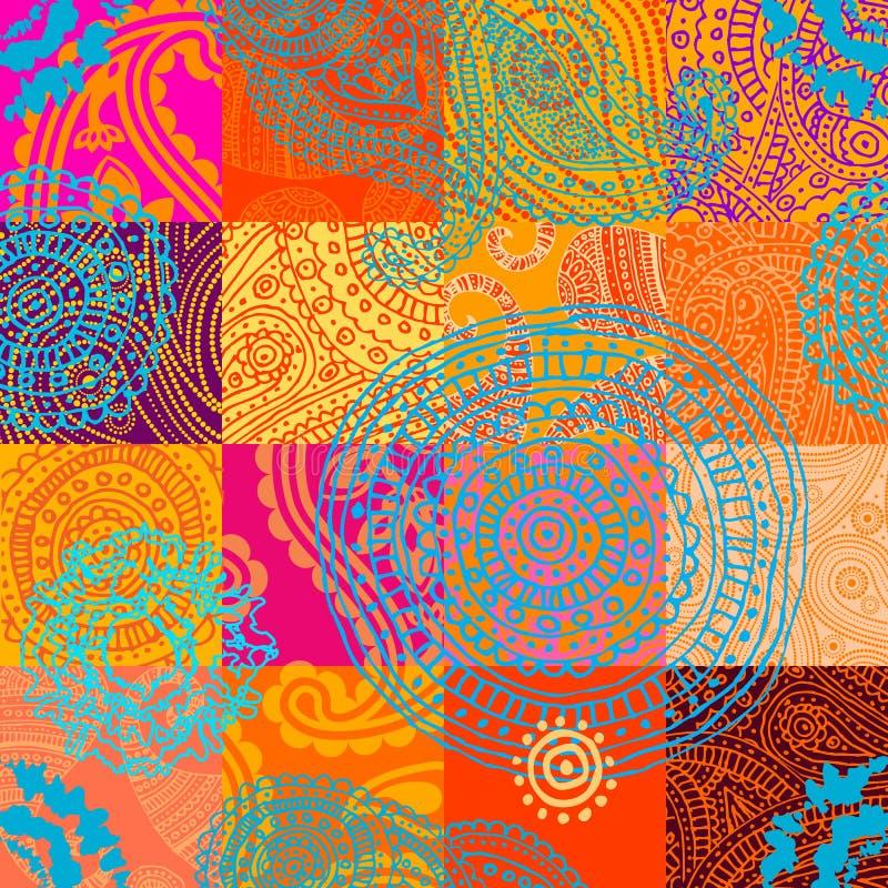 Orange patchwork med prydnaden stock illustrationer
