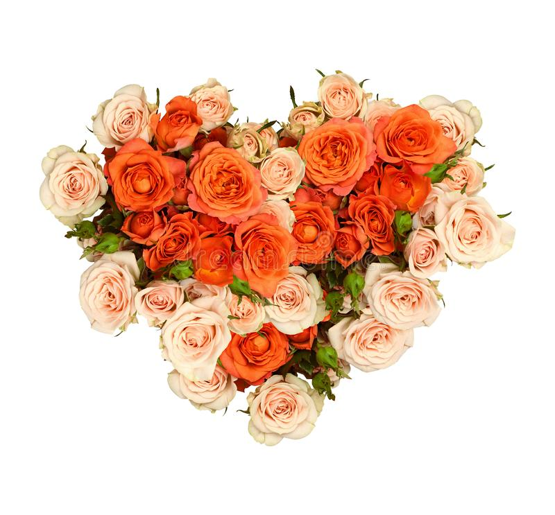 Orange and peach rose flowers in a heart shape bouquet royalty free stock image