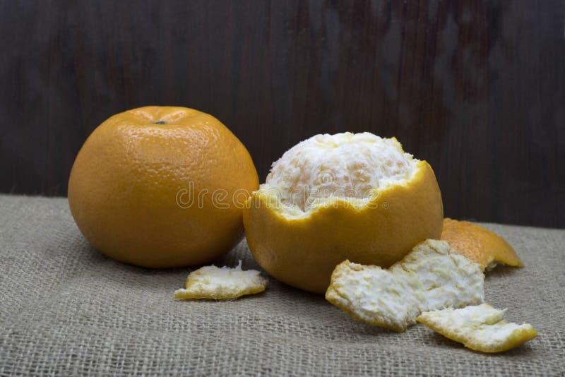 Orange and orange peels stock images