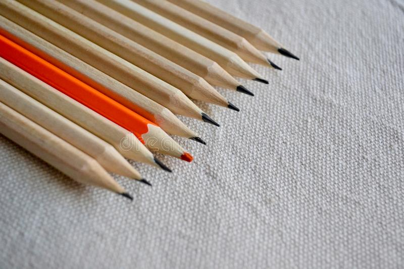 Color Pencils,Stand Out Of The Crowd Concept stock image