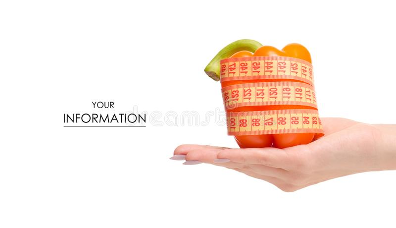 Orange pepper vegetables centimeter in hand pattern stock photos