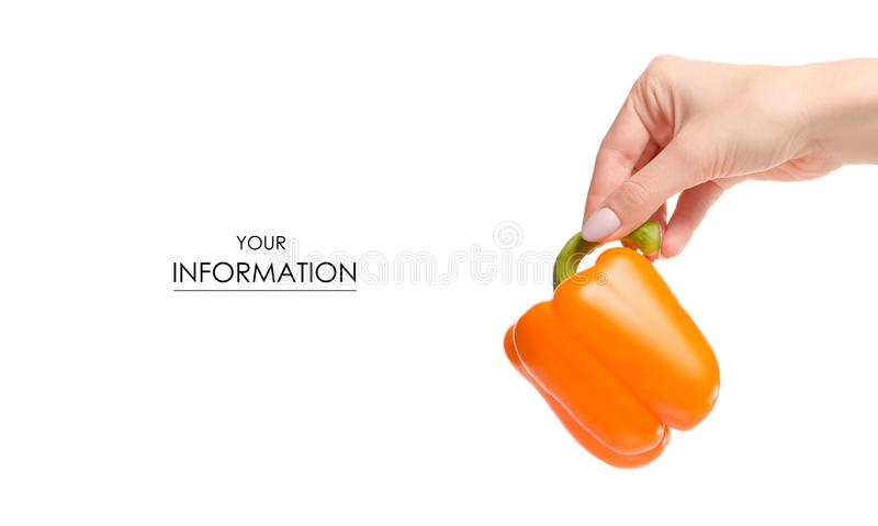 Orange pepper vegetables in hand pattern stock image