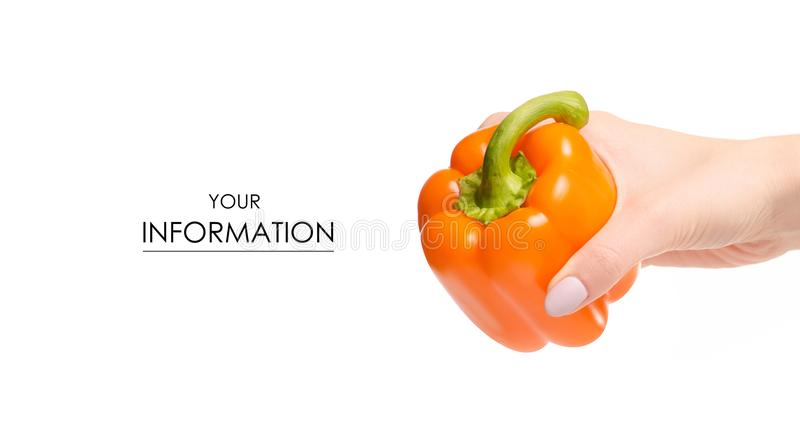 Orange pepper vegetables in hand pattern royalty free stock photography