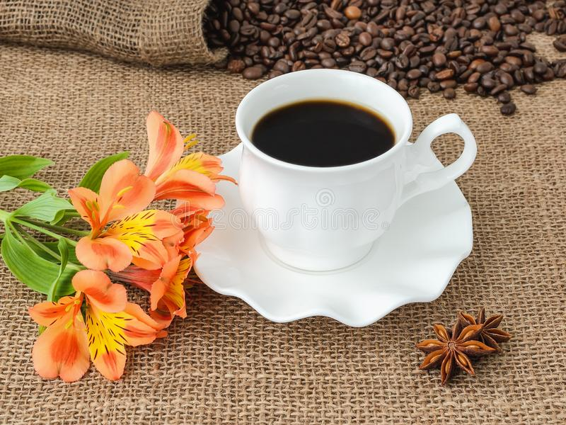 Orange peruvian lily flower, hot coffee in white elegant cup with saucer and scattering of coffee beans on rustic sackcloth a stock photography