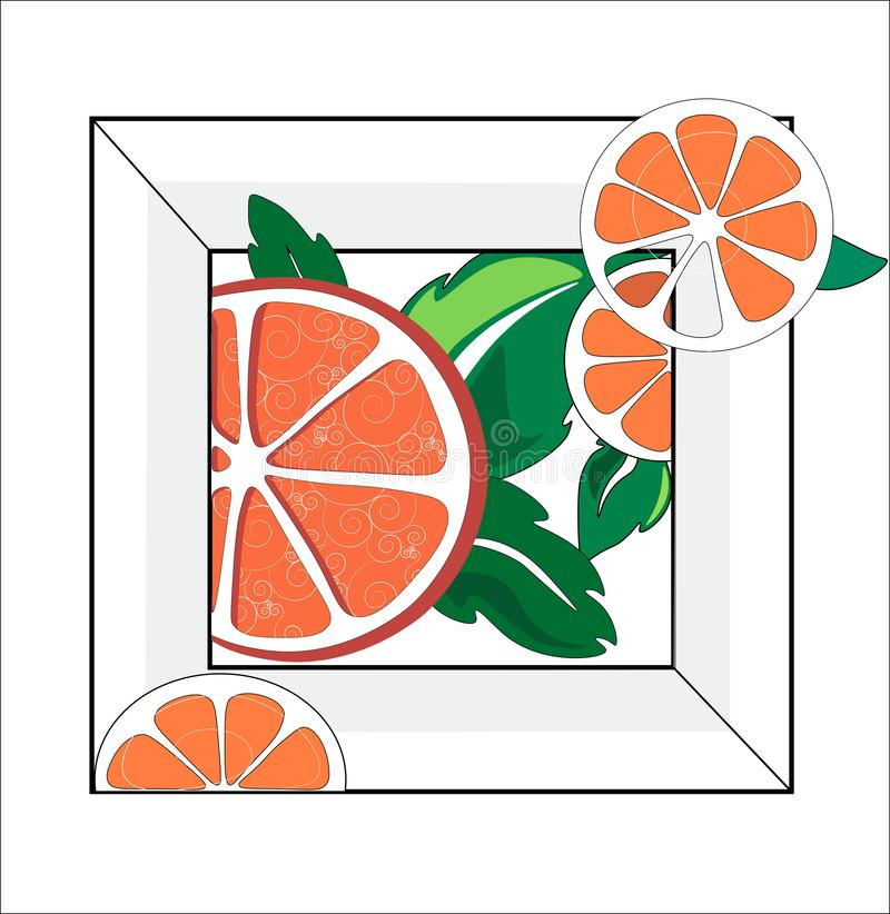 Orange with petals. Abstraction of oranges rings with leaves in white frame. I used fresh, summer, citrus colors to convey the freshness of the image and ideas stock illustration
