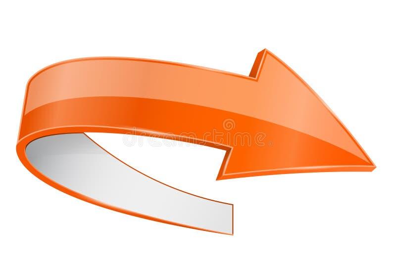 Orange Pfeil 3d mit weißer Rückseite vektor abbildung