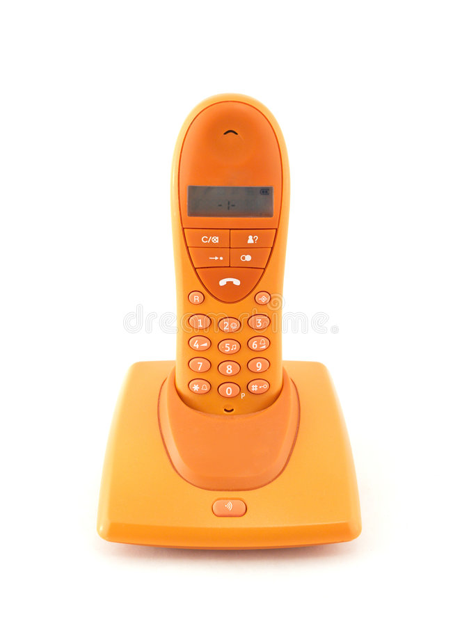 Orange phone. A frontal view of an orange phone on a white background stock images