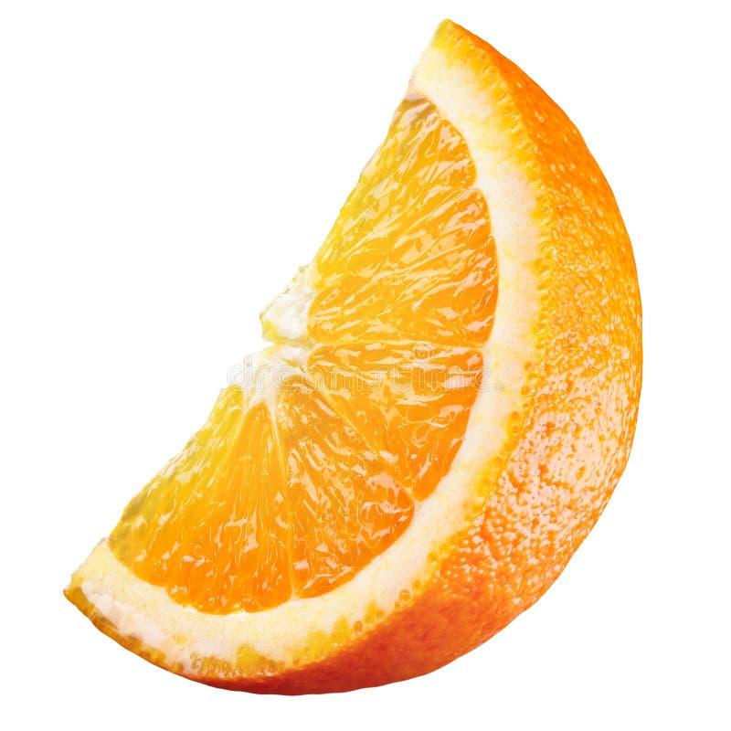 Orange. Piece of fruit isolated on white royalty free stock photos