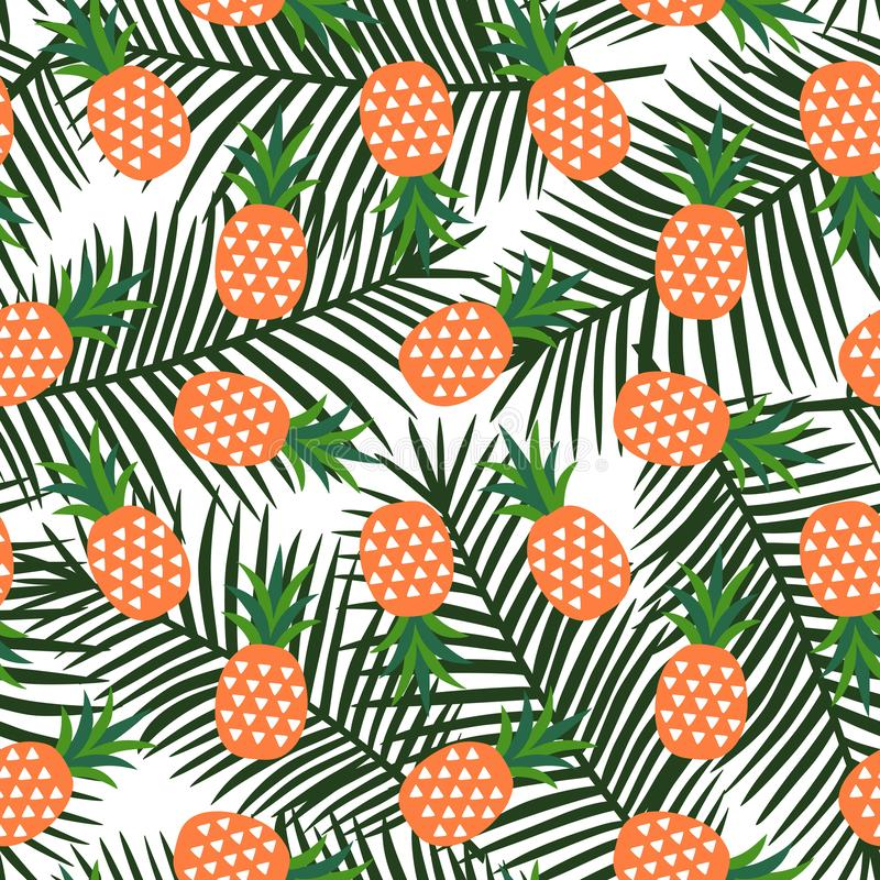 Orange pineapple with triangles geometric fruit summer tropical stock photo
