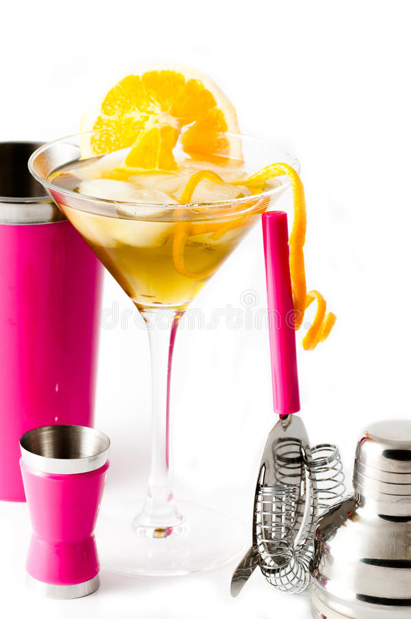 Orange with pink cocktail shaker stock photos