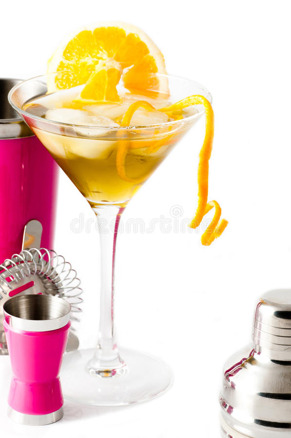 Orange with pink cocktail shaker royalty free stock image