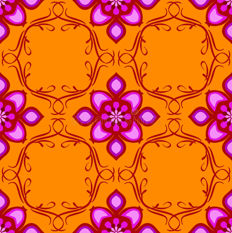 Orange pink eastern seamless. Vivid and bright design in pink on a hot orange background inspired by colors used in eastern-style artwork royalty free illustration