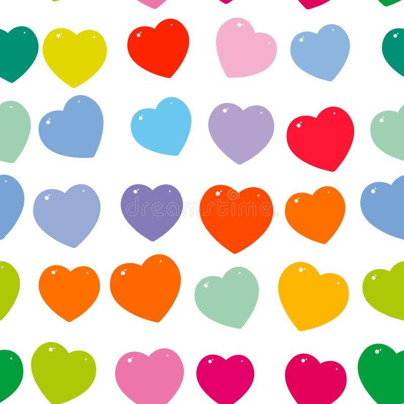 Orange pink purple red green blue heart seamless pattern on white background. Vector vector illustration