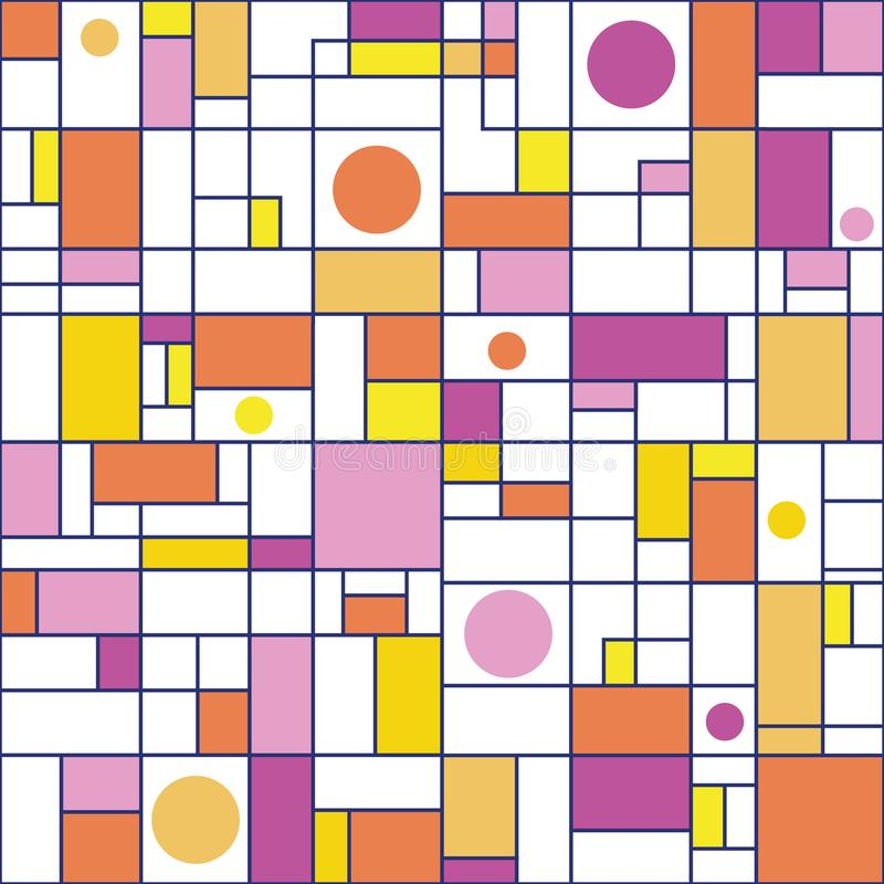 Orange, pink, purple, yellow rectangles and circles with deep blue outlines. Seamless abstract vector pattern on white stock illustration