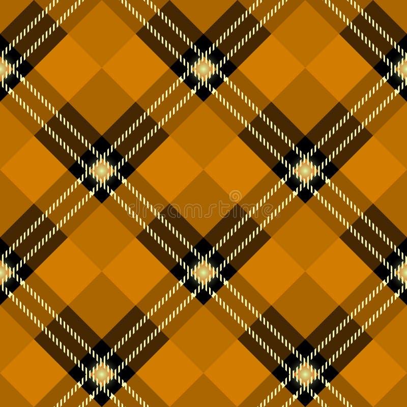 Orange plädmodell för tartan Sömlös bakgrund i varm höstfärg stock illustrationer